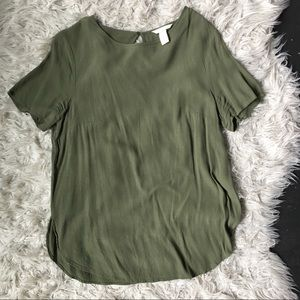 H&M army green viscose blouse